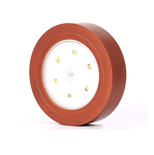 Nachtlampje met LED's, energiebesparend, voor het lezen, kast, vitrinelicht, driekleurig, zilverkleurig, 90 mm diameter (kleur: koper vintage)