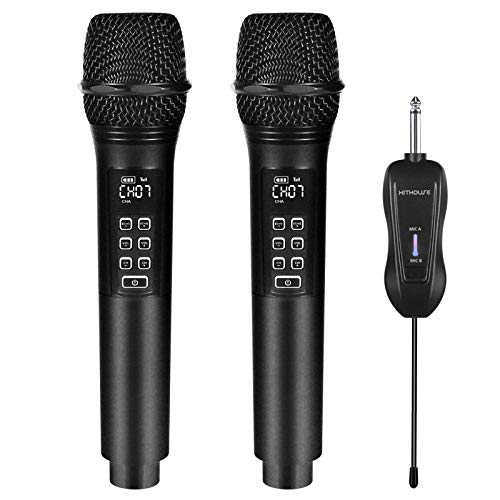 Kithouse K28 Rechargeable Wireless Microphone Karaoke Cordless Microphone with Volume & Echo Control and Receiver, UHF Handheld Dynamic Microphone for Singing Karaoke Speech, Black