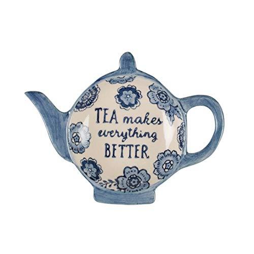 Sass & Belle, Piattino per bustine da tè, motivo floreale, colore: blu, per amanti del tè
