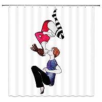 Nextchange手描きのカップルの家の装飾キスラブシャワーカーテンポリエステル生地フック付きバスルームの装飾セット(66X72インチ)