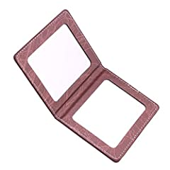 The folding compact mirror is made of PU leather and glass, the PU leather wraps the makeup mirror thoroughly and protects it perfectly, makes the mirror become shatterproof and durable. When the double mirror folding, the size is 4 inch x 3.2 inch. ...