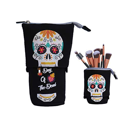 Monet Studios Telescopic Slidable Skull Day of The Dead Case for Stationery Pencils Pens Makeup iPhoneAndroid Phones Gadget Accessories Pouch Jet Black