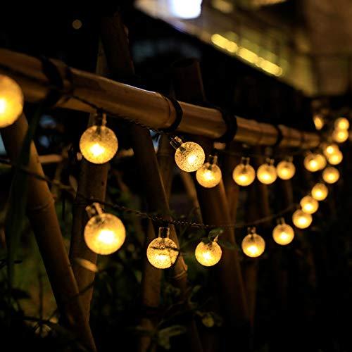 Luces De Cadena De Energía Solar, Luces De Cadena De Hadas Remotas De LED USB Impermeables Al Aire Libre Cadena De Luces Colgantes De Estrella Centelleante Para Navidad,2.5 bubbles 9.5 m 50 lights