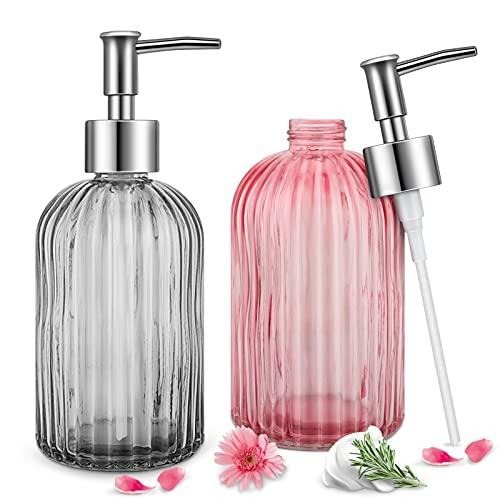 Hippodance Dispenser Sapone Liquido Vetro,2PCS Soap Dispenser Cucina Dosatore Sapone Liquido, Dispenser Sapone Bagno Design per Detersivo Piatti/Lozione Shampoo/Controsoffitto Bagno - 500ML