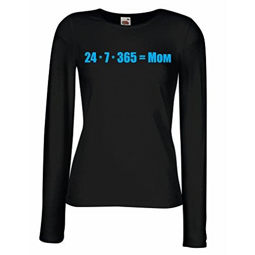 Camisetas de Manga Larga para Mujer La Mejor mamá - Amor Usted Mensaje de la mamá - cumpleaños, día de Madres, Regalos del Aniversario (Medium Negro Azul)