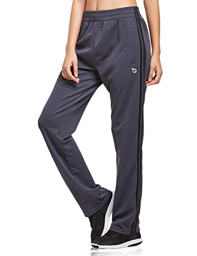 BALEAF Women's Track Pants Sports Athletic Sweatpants with Zipper Pockets Lounge Jogging Sweat Pants Open Leg Grey/Black Size M