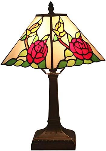 Lámpara de mesa Lámpara de mesa cuadrada Lámpara de mesa de metal Faro de la cama de metal Adecuado para el estilo del dormitorio 3-Luz de banco retro