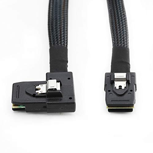 YIWENTEC 0.8 M Internal Mini SAS 36-Pin 8087 to Right Bend 90 Degree SFF-8087 Cable (8087 to 8087 Right Bend 0.8m) (Black)
