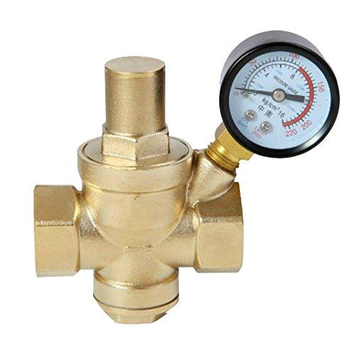 Niederdruckregler mit Manometer, DN15 / DN20 / DN25 / DN32, einstellbar, Messing, Wasserfluss, weiblich
