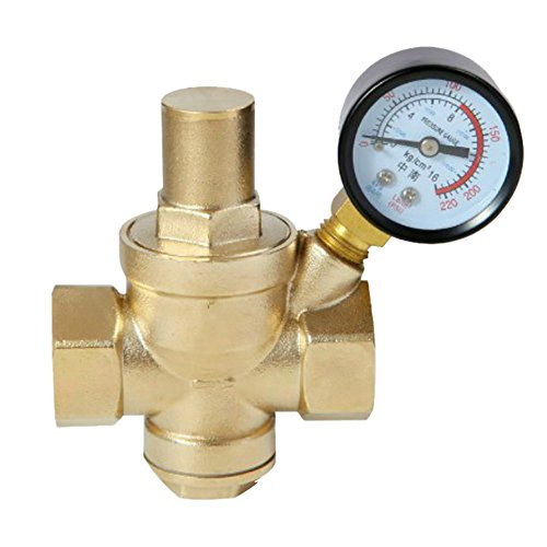 DN15 DN20 DN25 DN32 BSPPajustable latón agua flujo válvula reductora presión con manómetro - hembra 1/2 3/4 1 1-1/4 pulgada