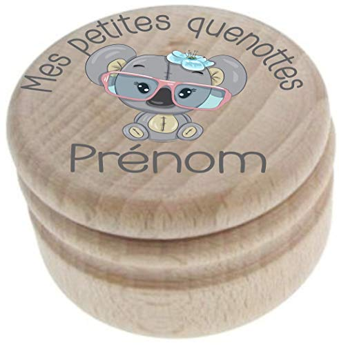 Boite à Dents de Lait en bois - Fabrication française – Personnalisée avec le prénom de l enfant + Texte personnalisable – dessin Koala - Boîte à offrir en cadeau à une fille – petite souris