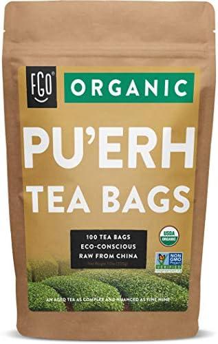 Organic Pu erh Tea Bags 100 Tea Bags Eco Conscious Tea Bags in Kraft Bag by FGO product image