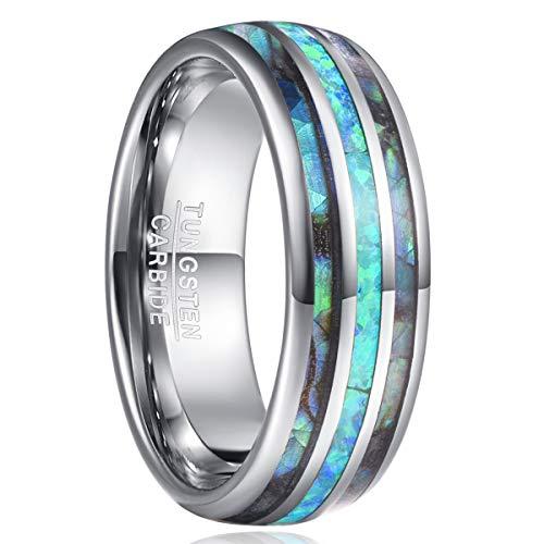 NUNCAD Herren/Damen Ringe mit Abalone Muschel und Opal aus wolframcarbid Partner Ring Freundschaftsring Größe 53 (16.9)