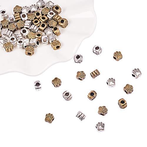 PandaHall 60pcs Pet Dog Puppy Paw Stampe Perline di Metallo Fascino per creazione di Collana Braccialetto Gioielli Antico Argento e Oro Perline in Metallo Artiglio Cane 11x11x8mm, Foro: 5mm