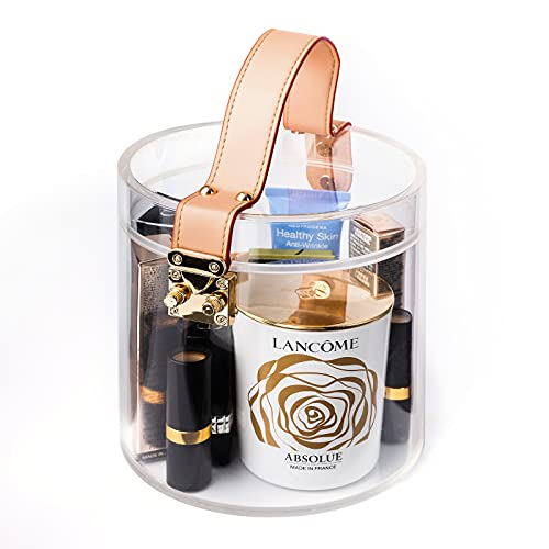 Pick Cute Makeup organizer, Cosmetic Jewelry Display Case, Spacious transparent acrylic box with metal buckle for Bathroom, Dresser or Vanity table.