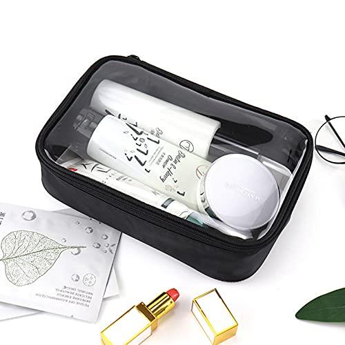 LIZHIOO Klare Kulturbeutel, wasserdichte Make-up-Tasche PVC. Tragbare Klare Reiseorganisator Schönheitsaufbewahrungstaschen (Color : Black, Size : 14x22x6cm)