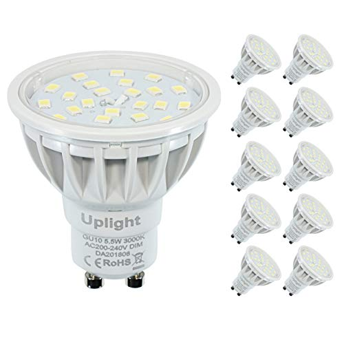 Dimmbar Gu10 LED Lampe Ersetz 50-60W Warmweiß 3000K 600lm 120°Strahlwinkel LED Spotlight,10er Pack。