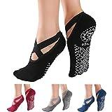 KaiYunSheng 4 Paar rutschfeste Yoga-Socken für Frauen, rutschfeste Pilates-Socken für Damen, Ballett-Socken mit Griffen, Größe 35-42