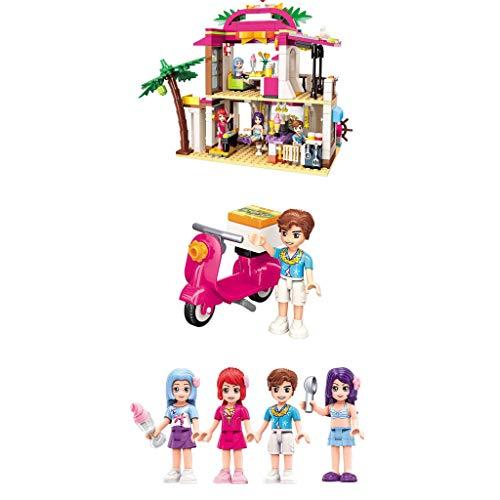 Conjunto de chicas princesa castillo niñas villas ciudad juguetes educativos de ortografía serie villas montadas concentración (color: parque acuático)