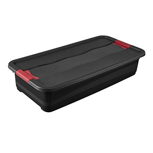 keeeper Boîte de Transport avec Couvercle et Système de Fermeture Coulissant, Extra-Robuste, 79,5 x 39,5 x 17 cm, 33 l, Eckhart, Gris Graphite
