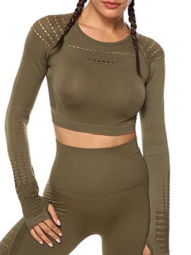 Tops Yoga Camiseta Deportiva Sin Costura Mangas Larga Fitness Mujer Gimnasio Verte S