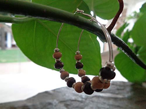 ❤ NATUR - BRAUNE HOLZ CREOLEN BOHO TRIBAL ❤ auffällige, einmalige Ohrringe aus Naturmaterialien