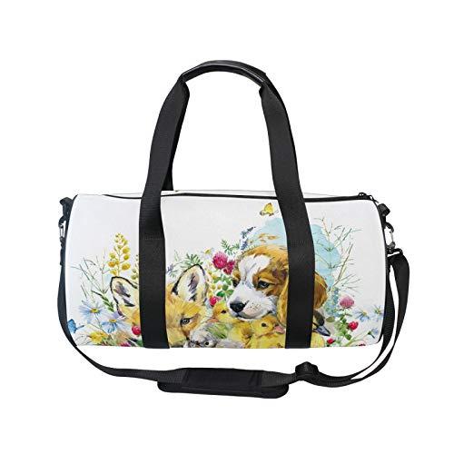 TropicalLife RELEESSS Sports Gym Bag Cute Animal Dog Duck Fox Lightweight Travel Duffel Bag Holdall Bag Multipurpose Use for Men Women