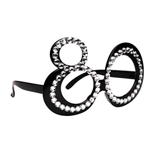 P Prettyia Gafas Divertidas Unisex Anteojos de Cumpleaños 21/70 / 80 Lentes Único para Hombre Mujer - 80, 15 x 5,5 cm
