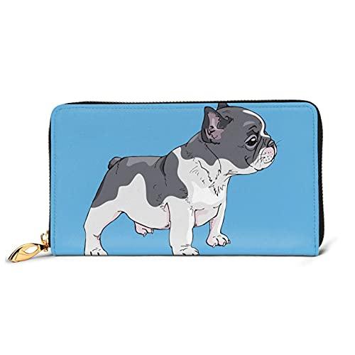 Funny French Bulldog Ladies Leather Wallet Shield Wallet Zipper Clutch Purse Card Holder Organizer