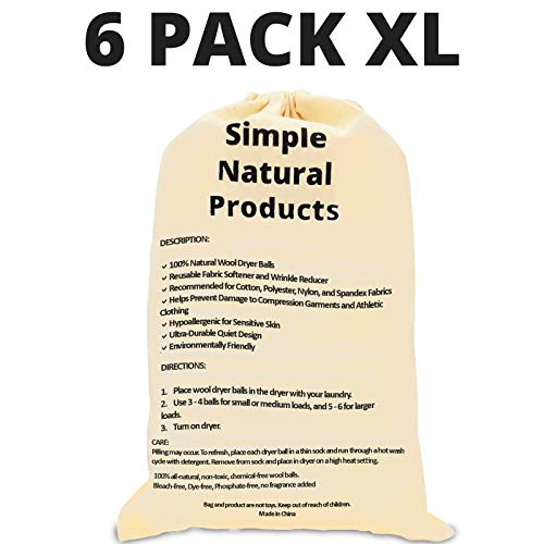 Simple Natural Products Wool Dryer Balls Handmade (6 XL Pack) Fabric Softener Ball for Sensitive Skin - Helps Prevent Wrinkles and Reduces Static -...
