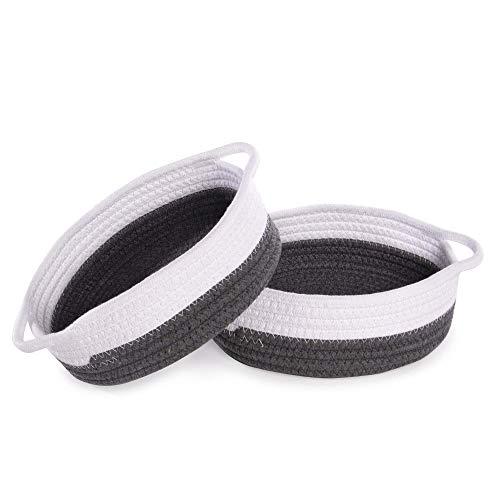 De almacenamiento de cuerda de algodón - Juego de 2 | Cesta de almacenamiento y organizador | Organizador de escritorio | Perfecto para artículos esenciales para el baño | M&W (gris y blanco)