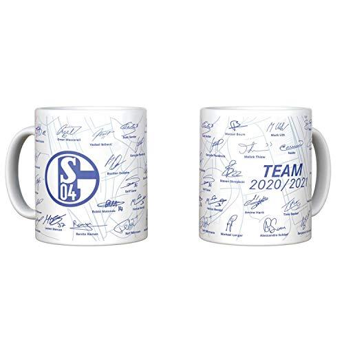 FC Schalke 04 Tasse - Unterschriften 2020/21 - S04 Kaffeetasse Team - Plus Lesezeichen I Love Gelsenkirchen