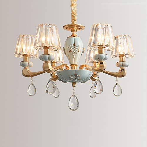 Tablelamp-SZQ Home Decoration Kronleuchter, Kristall Lampshade Kronleuchter modernen europäischen Kronleuchter Beleuchtung Hängende 3/6 Kopf E14 (Color : Blue, Size : 67 * 44CM)