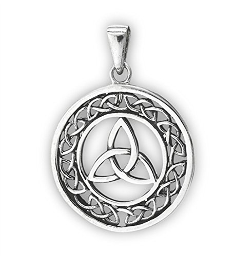 Trinity Triquetra Pendant .925 Sterling Silver Circle Celtic Endless Infinity Charm
