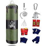 ZWJ Equipo de Kickboxing Colgando Cuerpo Sin llenado Bolsa de Punch Reflejo Bolsa Punch Diez Accesorios Espesado Oxford Paño PU Verde 60-120cm (Color : Green, Size : 120cm)