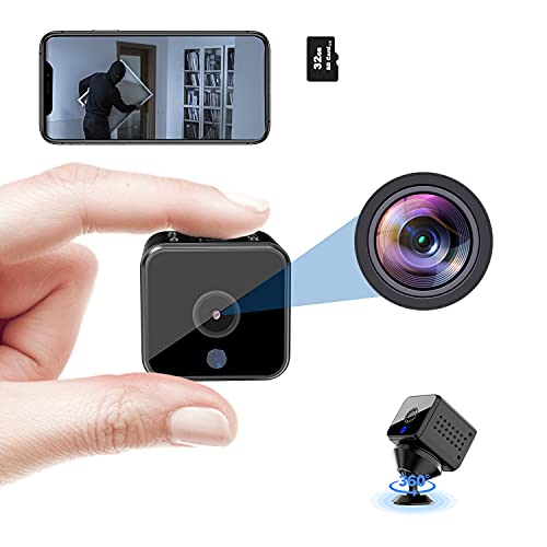 Hidden Camera Spy Camera Mini Wireless Camera with Audio 1080P WiFi Nanny Cams Video Recording, Night Vision, Motion Detection Security Surveillance Camera for Car(32G SD Card Included)