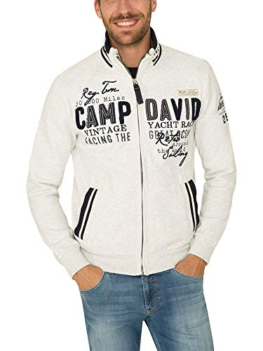 Camp David Herren Sweatjacket mit großer Label-Applikation