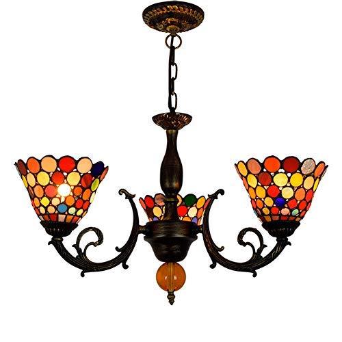 Techo de la sala Luz 6 pulgadas estilo de Tiffany colgante de la lámpara de la lámpara del vidrio manchado de los puntos coloridos cortinas de la lámpara 3 armas araña colgando de la lámpara pendiente