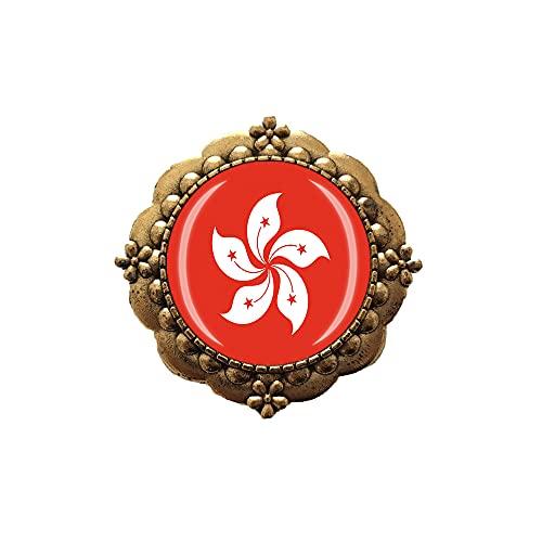 Spilla stile bandiera della Cina di Hong Kong Pin Decorazione dell'abbigliamento Distintivo dorato