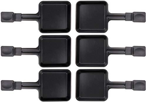 6x Raclette Pfännchen 23178 10x10cm, Emailliert, Universell für Raclettes (Maße siehe Text)