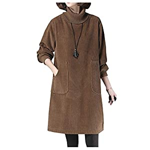 Women's Corduroy Tunic Tops Turtleneck Shirt Dress Jacket with Pocket...