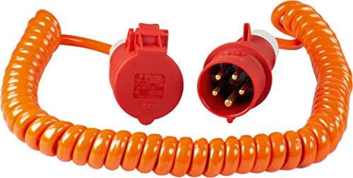 as - Schwabe 70416 Baustellen-Spiralkabel 400V / 16A, 5m H07BQ-F 5G1,5, orange, IP44 Gewerbe, Baustelle