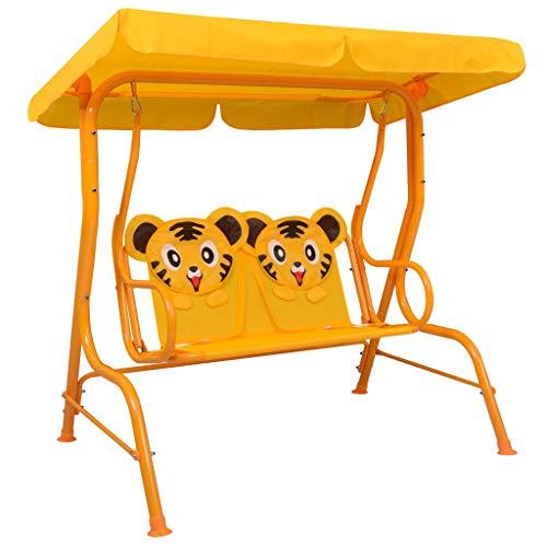 Festnight Kinder-Hollywoodschaukel Kinderschaukel Gartenschaukel Gartenbank Schaukelbank Mit Sonnendach Gelb 115 x 75 x 110 cm Stoff