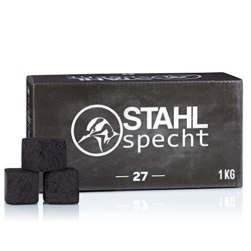 Stahlspecht - Carbón natural para shisha (27 unidades, 100% cáscaras de coco, 1 kg)