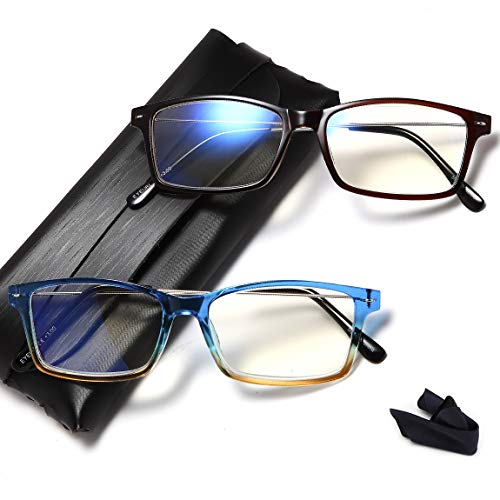 Blue Light Blocking Reading Glasses - 2 Pairs Computer Readers for Men and Women +1.0 UV Protection and Best Design Eyeglasses