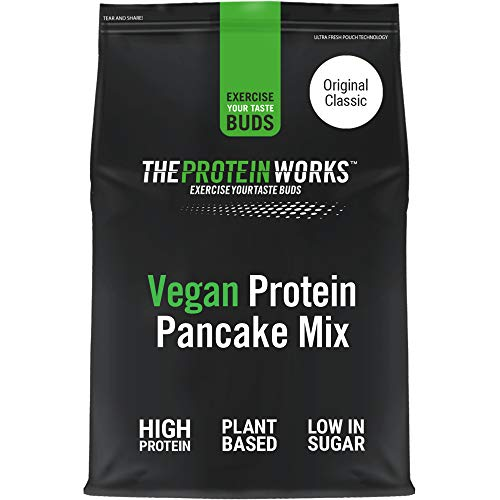 THE PROTEIN WORKS Vegan High Protein Pancake Mix | Low sugar & High Protein | Slow Release Carbs | Original Classic | 500 g