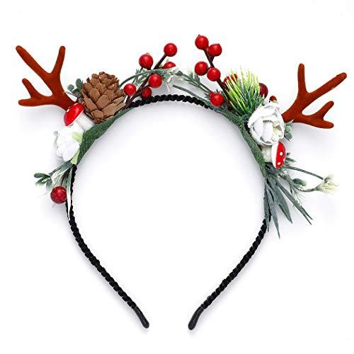 Unicra Serre-tête de Noël avec fleurs et bois de cerf, cornes d'animaux, accessoire pour cheveux pour femmes et filles