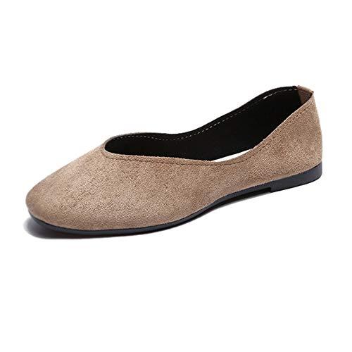 Zapatos Mocasines Cómodos para Mujer realizados en Piel Genuina, Planta Acolchada para Total Confort y Comodidad,Caqui,40 EU