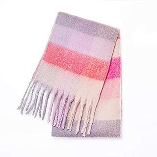 WUNONG-AU Women Fashion Geometric Figure Thick Warm Large Shawl Winter Color Lattice Scarf (Color : Pink, Size : 215CM)