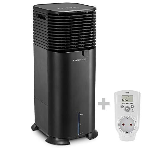TROTEC Climatizador Air Cooler PAE 50, Climatizador Evaporativo 4 en 1, Enfriador de Aire, Ventilador, Purificador, Humidificador, 750 m³/h, Capacidad:20 L, incluido Enchufe con higrostato BH30